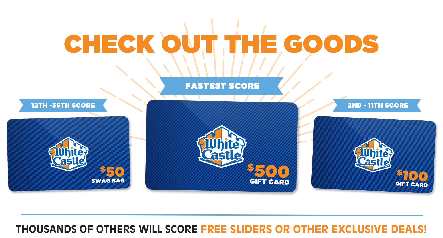 Fastest person scores $500 Gift Card, next 10 score a $100 Gift Card, next 25 score a $50 swag bag and gift cards.