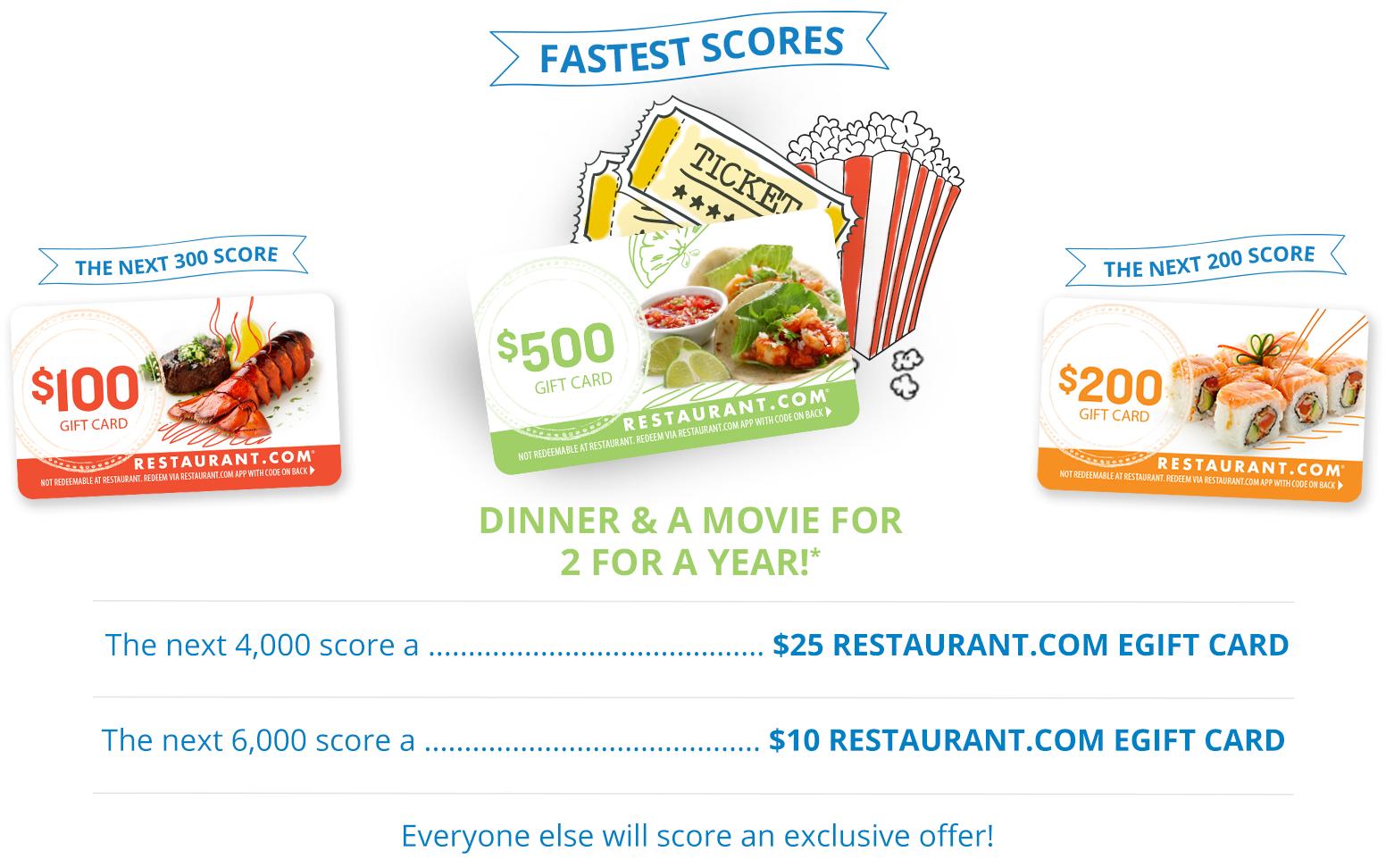 FREE Restaurant.com Gift Card.